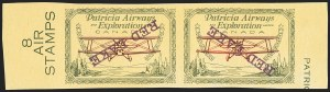Sale Number 1169, Lot Number 3633, Patricia Airways and Exploration (CL13-CL30)CANADA, 1927, (5c) Green & Red on Yellow, Patricia Airways Air Post Semi-Official, Purple Inverted Surcharge, Imperforate Pair (CL30i var), CANADA, 1927, (5c) Green & Red on Yellow, Patricia Airways Air Post Semi-Official, Purple Inverted Surcharge, Imperforate Pair (CL30i var)
