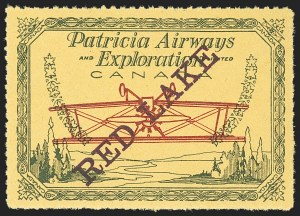 Sale Number 1169, Lot Number 3634, Patricia Airways and Exploration (CL13-CL30)CANADA, 1926, (5c) Green & Red on Yellow, Patricia Airways Air Post Semi-Official, Purple Overprint Ascending, Inverted Airplane (CL30q; Unitrade CL30di), CANADA, 1926, (5c) Green & Red on Yellow, Patricia Airways Air Post Semi-Official, Purple Overprint Ascending, Inverted Airplane (CL30q; Unitrade CL30di)