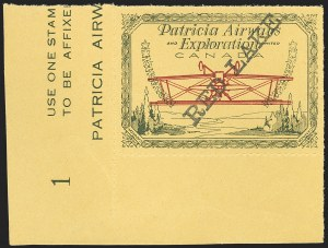 Sale Number 1169, Lot Number 3636, Patricia Airways and Exploration (CL13-CL30)CANADA, 1926, (5c) Green & Red on Yellow, Patricia Airways Air Post Semi-Official, Black Overprint Ascending, Inverted Airplane (CL30s; Unitrade CL30a), CANADA, 1926, (5c) Green & Red on Yellow, Patricia Airways Air Post Semi-Official, Black Overprint Ascending, Inverted Airplane (CL30s; Unitrade CL30a)