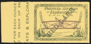 Sale Number 1169, Lot Number 3637, Patricia Airways and Exploration (CL13-CL30)CANADA, 1926, (5c) Green & Red on Yellow, Patricia Airways Air Post Semi-Official, Black Overprint Ascending, Inverted Airplane (CL30s; Unitrade CL30a), CANADA, 1926, (5c) Green & Red on Yellow, Patricia Airways Air Post Semi-Official, Black Overprint Ascending, Inverted Airplane (CL30s; Unitrade CL30a)