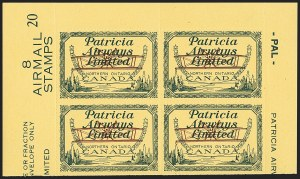 Sale Number 1169, Lot Number 3649, Patricia Airways (CL43)CANADA, 1928, (10c) Green & Red on Yellow, Patricia Airways Air Post Semi-Official, Inverted Airplane (CL43a), CANADA, 1928, (10c) Green & Red on Yellow, Patricia Airways Air Post Semi-Official, Inverted Airplane (CL43a)