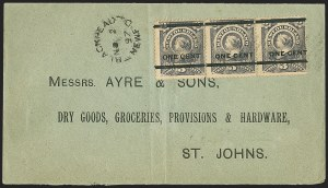 Sale Number 1170, Lot Number 4132, Canadian ProvincesNEWFOUNDLAND, 1897, 3c on 1c Gray Lilac, Ty. III (77; SG 82), NEWFOUNDLAND, 1897, 3c on 1c Gray Lilac, Ty. III (77; SG 82)