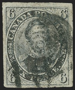 Sale Number 1170, Lot Number 4150, CanadaCANADA, 1851, 6p Slate Violet, Laid Paper (2; SG 2), CANADA, 1851, 6p Slate Violet, Laid Paper (2; SG 2)