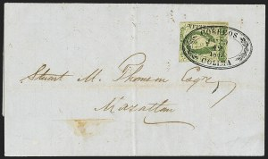 Sale Number 1170, Lot Number 4809, Japan thru MongoliaMEXICO, 1856, 2r Yellow Green, Moreila District Overprint (3), MEXICO, 1856, 2r Yellow Green, Moreila District Overprint (3)