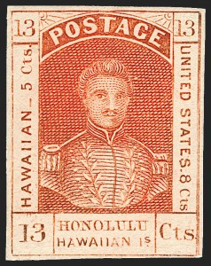 Sale Number 1172, Lot Number 1017, 1853-89 Kamehameha III Issues (Scott 5-7)HAWAII, 1853, 13c Dark Red, Thick White Wove (6), HAWAII, 1853, 13c Dark Red, Thick White Wove (6)