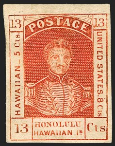 Sale Number 1172, Lot Number 1018, 1853-89 Kamehameha III Issues (Scott 5-7)HAWAII, 1853, 13c Dark Red, Thick White Wove (6), HAWAII, 1853, 13c Dark Red, Thick White Wove (6)