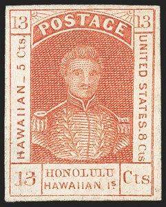 Sale Number 1172, Lot Number 1019, 1853-89 Kamehameha III Issues (Scott 5-7)HAWAII, 1853, 13c Dark Red, Thick White Wove (6), HAWAII, 1853, 13c Dark Red, Thick White Wove (6)