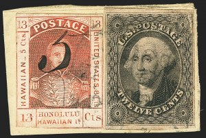 Sale Number 1172, Lot Number 1026, 1853-89 Kamehameha III Issues (Scott 5-7)HAWAII, 1857, 5c on 13c Dark Red (7), HAWAII, 1857, 5c on 13c Dark Red (7)