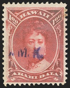 Sale Number 1172, Lot Number 1222, 1864-86 Royal Portraits Issues, cont. (Scott 39-52C)HAWAII, 1883, $1.00 Rose Red, Revenue Cancel Study (49), HAWAII, 1883, $1.00 Rose Red, Revenue Cancel Study (49)