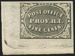 Sale Number 1172, Lot Number 501, Postmasters' Provisionals thru 1847 Issue (Scott 10X1, 1-4)Providence, Rhode Island, 5c Gray Black (10X1), Providence, Rhode Island, 5c Gray Black (10X1)