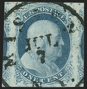 Sale Number 1172, Lot Number 505, 1851-56 Issue (Scott 7-17)1c Blue, Ty. II (7), 1c Blue, Ty. II (7)