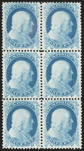 Sale Number 1172, Lot Number 520, 1857-60 Issue & 1875 Reprint (Scott 19-46)1c Bright Blue, Reprint (40), 1c Bright Blue, Reprint (40)