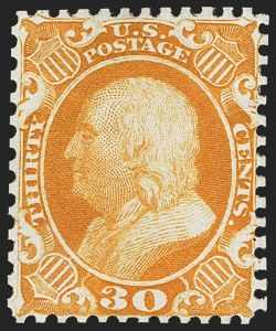 Sale Number 1172, Lot Number 521, 1857-60 Issue & 1875 Reprint (Scott 19-46)30c Yellow Orange, Reprint (46), 30c Yellow Orange, Reprint (46)