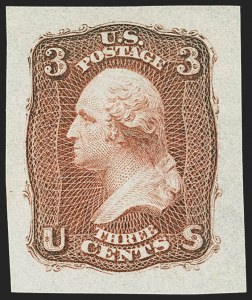 Sale Number 1172, Lot Number 523, 1861-68 Issues, 1875 Re-Issue (Scott 65-105)3c Dim Deep Red, First Design Die Essay on Semi-transparent Stamp Paper (65-E15b), 3c Dim Deep Red, First Design Die Essay on Semi-transparent Stamp Paper (65-E15b)