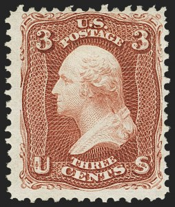 Sale Number 1172, Lot Number 538, 1861-68 Issues, 1875 Re-Issue (Scott 65-105)3c Brown Red, Re-Issue (104), 3c Brown Red, Re-Issue (104)