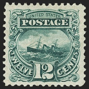 Sale Number 1172, Lot Number 555, 1875 Re-Issue of 1869 Pictorial Issue (Scott 123-133a)12c Green, Re-Issue (128), 12c Green, Re-Issue (128)