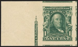Sale Number 1172, Lot Number 619, 1902-08 Issues (Scott 300-320)1c Blue Green, Imperforate (314), 1c Blue Green, Imperforate (314)