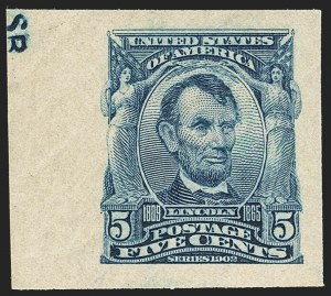 Sale Number 1172, Lot Number 620, 1902-08 Issues (Scott 300-320)5c Blue, Imperforate (315), 5c Blue, Imperforate (315)