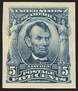 Sale Number 1172, Lot Number 621, 1902-08 Issues (Scott 300-320)5c Blue, Imperforate (315), 5c Blue, Imperforate (315)