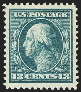 Sale Number 1172, Lot Number 634, 1908-10 Washington-Franklin Issues (Scott 331-356)13c Blue Green (339), 13c Blue Green (339)