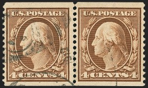 Sale Number 1172, Lot Number 649, 1908-10 Washington-Franklin Issues (Scott 331-356)4c Orange Brown, Coil (354), 4c Orange Brown, Coil (354)