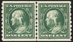 Sale Number 1172, Lot Number 666, 1910-13 Washington-Franklin Issue (Scott 374-396)1c Green, Coil (392), 1c Green, Coil (392)