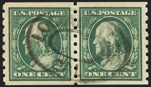 Sale Number 1172, Lot Number 667, 1910-13 Washington-Franklin Issue (Scott 374-396)1c Green, Coil (392), 1c Green, Coil (392)