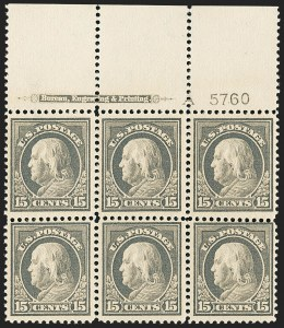 Sale Number 1172, Lot Number 708, 1912-14 Washington-Franklin Issue (Scott 405-423)15c Gray (418), 15c Gray (418)