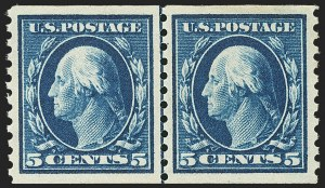 Sale Number 1172, Lot Number 753, 1913-15 Washington-Franklin Issues (Scott 447-461)5c Blue, Coil (447), 5c Blue, Coil (447)
