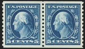 Sale Number 1172, Lot Number 754, 1913-15 Washington-Franklin Issues (Scott 447-461)5c Blue, Coil (447), 5c Blue, Coil (447)