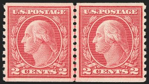 Sale Number 1172, Lot Number 774, 1913-15 Washington-Franklin Issues (Scott 447-461)2c Carmine, Ty. III, Coil (455), 2c Carmine, Ty. III, Coil (455)