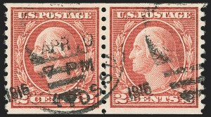 Sale Number 1172, Lot Number 777, 1913-15 Washington-Franklin Issues (Scott 447-461)2c Carmine, Ty. III, Coil (455), 2c Carmine, Ty. III, Coil (455)