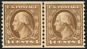 Sale Number 1172, Lot Number 780, 1913-15 Washington-Franklin Issues (Scott 447-461)4c Brown, Coil (457), 4c Brown, Coil (457)