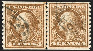 Sale Number 1172, Lot Number 782, 1913-15 Washington-Franklin Issues (Scott 447-461)4c Brown, Coil (457), 4c Brown, Coil (457)
