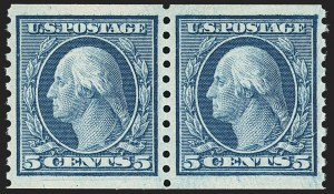 Sale Number 1172, Lot Number 784, 1913-15 Washington-Franklin Issues (Scott 447-461)5c Blue, Coil (458), 5c Blue, Coil (458)