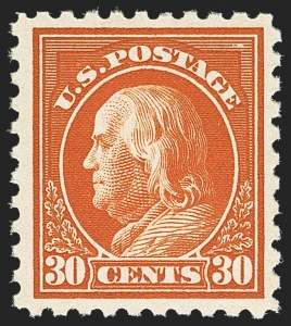 Sale Number 1172, Lot Number 799, 1916-17 Issues (Scott 462-480)30c Orange Red, Perf 10 (476A), 30c Orange Red, Perf 10 (476A)