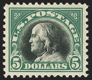 Sale Number 1172, Lot Number 825, 1917-19 Issues (Scott 481-524)$5.00 Deep Green & Black (524), $5.00 Deep Green & Black (524)