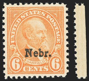 Sale Number 1172, Lot Number 851, 1922 and Later Issues6c Nebr. Ovpt. (675), 6c Nebr. Ovpt. (675)