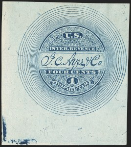 Sale Number 1173, Lot Number 2014, J.C. Ayer and Co.J. C. Ayer & Co., 4c Blue, Silk Paper, Imperforate (RS10b), J. C. Ayer & Co., 4c Blue, Silk Paper, Imperforate (RS10b)