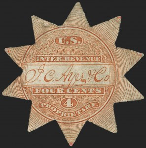 Sale Number 1173, Lot Number 2018, J.C. Ayer and Co.J. C. Ayer & Co., 4c Vermilion, Old Paper, Die Cut (RS13a), J. C. Ayer & Co., 4c Vermilion, Old Paper, Die Cut (RS13a)