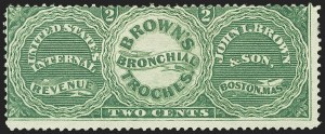 Sale Number 1173, Lot Number 2033, John I. Brown and SonJohn I. Brown & Son, 2c Green, Experimental Silk Paper (RS40e), John I. Brown & Son, 2c Green, Experimental Silk Paper (RS40e)
