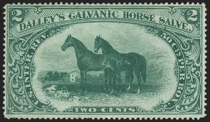 Sale Number 1173, Lot Number 2056, Dalley's Galvanis Horse Salve thru Fleming BrothersDalley's Galvanic Horse Salve, 2c Green, Old Paper (RS73a), Dalley's Galvanic Horse Salve, 2c Green, Old Paper (RS73a)