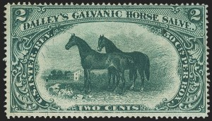 Sale Number 1173, Lot Number 2057, Dalley's Galvanis Horse Salve thru Fleming BrothersDalley's Galvanic Horse Salve, 2c Green, Silk Paper (RS73b), Dalley's Galvanic Horse Salve, 2c Green, Silk Paper (RS73b)