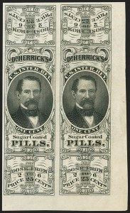 Sale Number 1173, Lot Number 2080, A.L. Helmbold's thru James A. Jackson and Co.Herrick's Pills, 1c Black, Old Paper, Imperforate Pair (RS117i), Herrick's Pills, 1c Black, Old Paper, Imperforate Pair (RS117i)