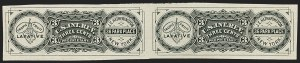 Sale Number 1173, Lot Number 2083, A.L. Helmbold's thru James A. Jackson and Co.J. E. Hetherington, 3c Black, Watermarked Paper, Imperforate Pair (RS121id), J. E. Hetherington, 3c Black, Watermarked Paper, Imperforate Pair (RS121id)