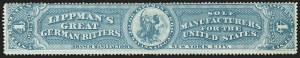 Sale Number 1173, Lot Number 2120, J.B. Kelly and Co. thru S. Mansfield and Co.Jacob Lippman & Bro., 4c Milky Blue, Old Paper (RS163a), Jacob Lippman & Bro., 4c Milky Blue, Old Paper (RS163a)