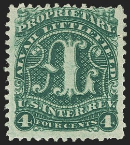 Sale Number 1173, Lot Number 2124, J.B. Kelly and Co. thru S. Mansfield and Co.Alvah Littlefield, 4c Green, Old Paper (RS165a), Alvah Littlefield, 4c Green, Old Paper (RS165a)