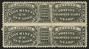Sale Number 1173, Lot Number 2125, J.B. Kelly and Co. thru S. Mansfield and Co.Lyon Manufg. Co., 2c Black, Watermarked Paper, Vertical Pair Imperforate Between (RS168di), Lyon Manufg. Co., 2c Black, Watermarked Paper, Vertical Pair Imperforate Between (RS168di)