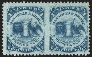 Sale Number 1173, Lot Number 2126, J.B. Kelly and Co. thru S. Mansfield and Co.Mansfield & Higbee, 1c Blue, Silk Paper, Horizontal Pair, Imperforate Between (RS173bi), Mansfield & Higbee, 1c Blue, Silk Paper, Horizontal Pair, Imperforate Between (RS173bi)