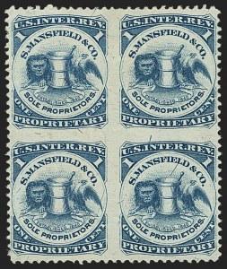 Sale Number 1173, Lot Number 2129, J.B. Kelly and Co. thru S. Mansfield and Co.S. Mansfield & Co., 1c Blue, Silk Paper, Block of Four, Imperforate Between (RS174bj), S. Mansfield & Co., 1c Blue, Silk Paper, Block of Four, Imperforate Between (RS174bj)